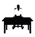man silhouette in white t shirt sitting on chair vector image vector image