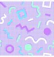 memphis pattern shapes colors purple background vector image vector image