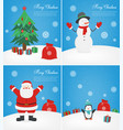merry christmas greeting cards set christmas vector image vector image