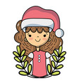 nice girl with christmas clothes and branches vector image