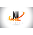 nl n l letter logo with fire flames design and vector image vector image