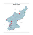 north korea map with red pin vector image vector image