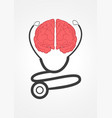 pictogram of a stethoscope and human brain vector image vector image