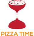 pizza time design template with sandglass vector image vector image