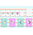 postcards set with cute flying unicorns and his vector image vector image