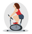pretty woman is engaged in fitness with pleasure vector image