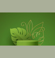 product podium with golden monstera leaf line art vector image vector image