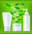 realistic cosmetic bottles with green leafs vector image vector image