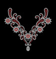 red and white diamonds necklace vector image
