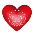 red heart shape with silhouette face cute lion vector image