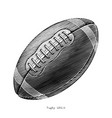rugby hand draw vintage style black and white vector image