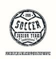 Serif font in sport style soccer