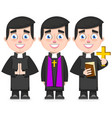 set of catholic priest in cartoon style vector image