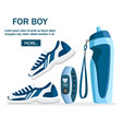 set sports accessories and clothes blue color vector image vector image