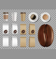 set template package with coffee beans and mugs vector image