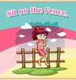 Sit on the fence vector image vector image