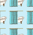 Sketch bath curtains in vintage style vector image vector image