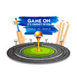 stadium of cricket with bat wicket and trophy vector image vector image