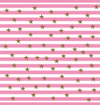 starry striped pattern in pink and gold shade vector image