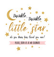 twinkle twinkle little star text with gold star vector image vector image