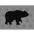 walking bear silhouette icon over pattern vector image vector image