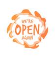 we are open again sticker coronavirus quarantine