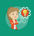 woman with business idea bulb in gear vector image vector image