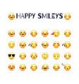 happy smileys icon set joy emoticons pictograms vector image