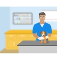 Man veterinarian holding a dog in veterinary vector image