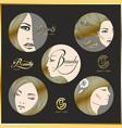 set of beautiful faces of girls with golden hair vector image