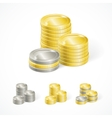 stacks of golden and silver coins vector image