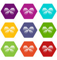 abstract butterfly icons set 9 vector image vector image