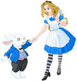 alice meets a white rabbit vector image