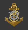 anchor with rope and helm icon vector image vector image
