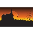 At afternoon castle and bat Halloween scenery vector image