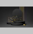 black product podium with golden monstera leaf vector image vector image