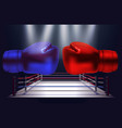 blue and red boxing gloves facing each other on vector image