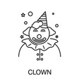 childish holiday circus clown isolated outline vector image vector image