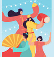 chinese lunar new year carnival people party vector image