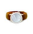 classic mens watch with brown leather bracelet vector image