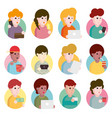 collection flat design set portraits avatars vector image