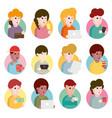 Collection of flat design set of portraits avatars