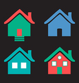 Colorful flat icons Homes isolated on black