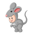 cute baby wearing a mouse suit vector image vector image