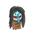cute cartoon hairy monster character with funny vector image vector image