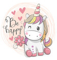 cute cartoon unicorn with flower vector image vector image