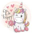 cute cartoon unicorn with flower vector image