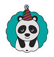 cute panda kawaii party hat vector image