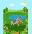 equine sports woman with horse on nature lake vector image vector image