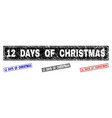 grunge 12 days of christmas textured rectangle vector image vector image